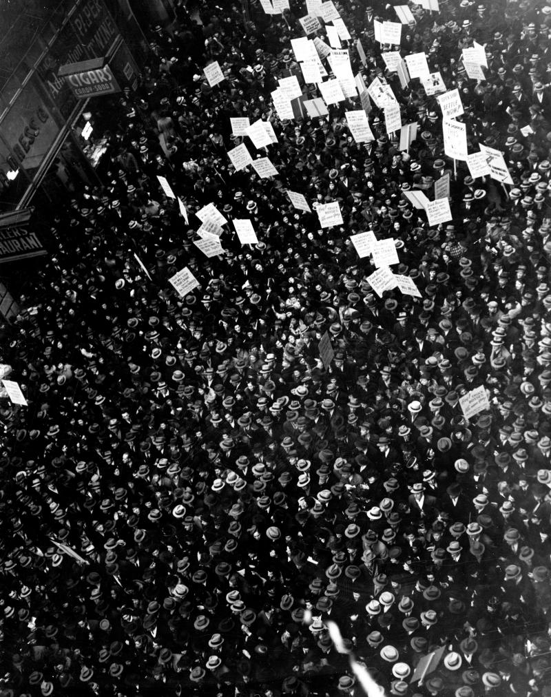 black-and-white-photo-view-from-above-downtown-protest