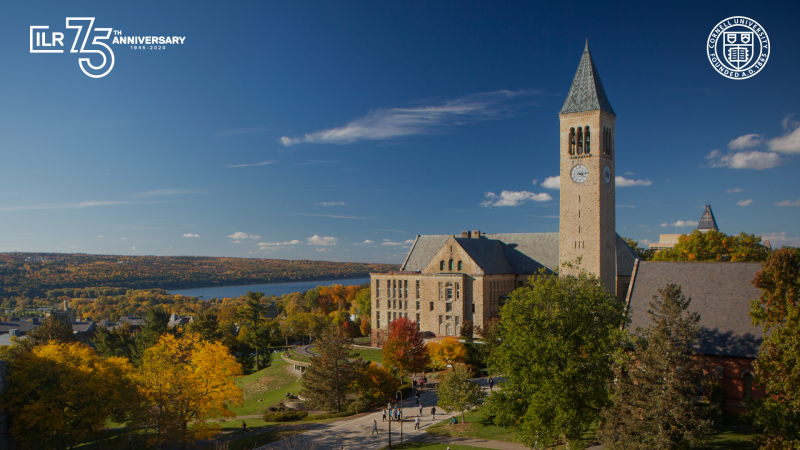 Cornell University clock tower in the fall